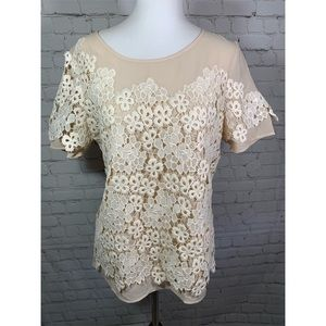 Sundance Cream Blouse with Floral Lace Overlay